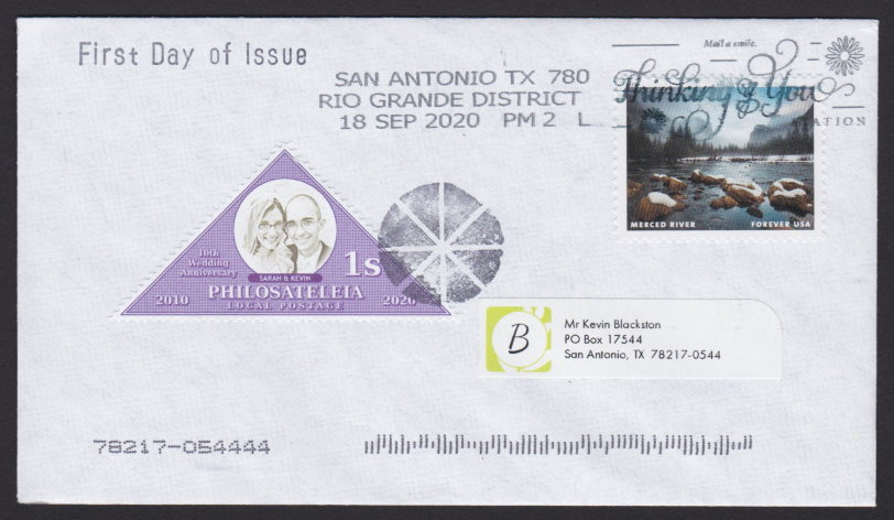 First day cover bearing Philosateleian Post 1-stamp 10th Wedding Anniversary stamp