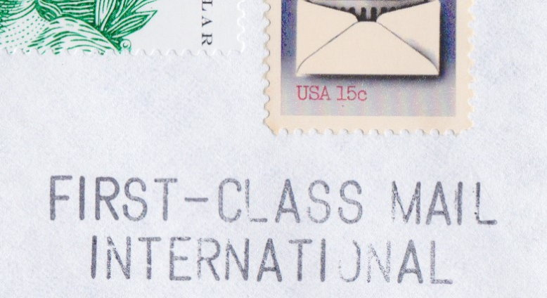 Philosateleian Post First-Class Mail International handstamp on portion of envelope