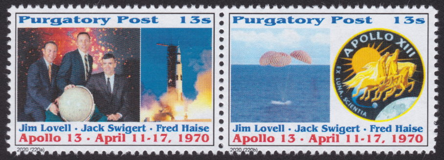 13-sola Purgatory Post stamps picturing Apollo 13 crew, spacecraft, and mission patch