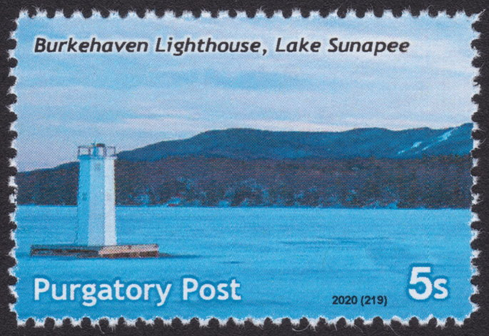 5-sola Purgatory Post stamp picturing Burkehaven Lighthouse on Lake Sunapee, New Hampshire