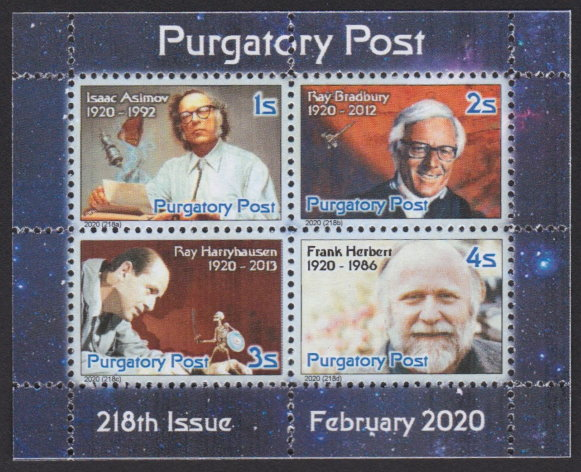 Miniature sheet of four Purgatory Post stamps picturing Isaac Asimov, Ray Bradbury, Ray Harryhausen, and Frank Herbert
