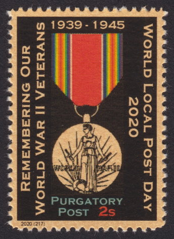 2-sola Purgatory Post stamp picturing World War II Victory Medal