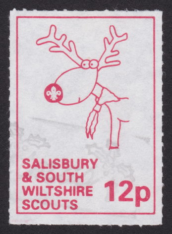 12p Salisbury & South Wiltshire Scouts local post stamp picturing reindeer