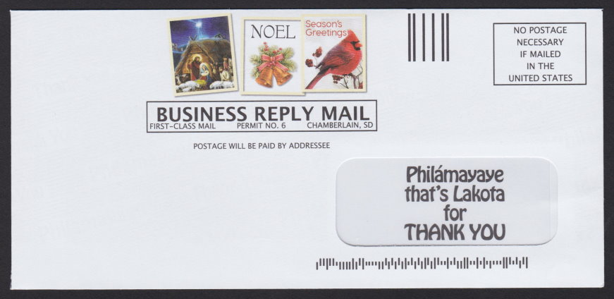 Business reply envelope with pre-printed stamp-sized images from St. Joseph's Indian School