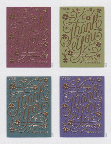 "Block of four United States Forever ""Thank You"" stamps"