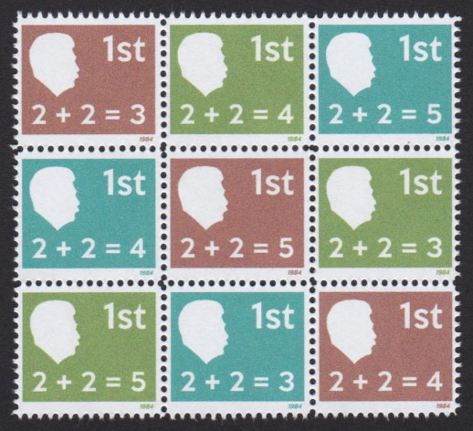 Oceania fantasy stamps bearing formulas 2+2=3, 2+2=4, and 2+2=5