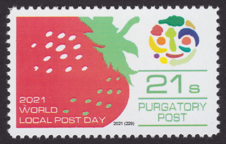 21-sola Purgatory Post stamp picturing strawberry