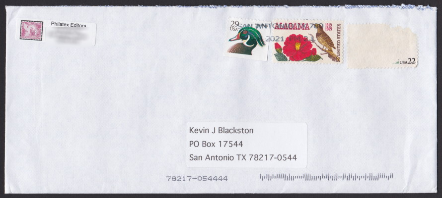 Front of cover from San Antonio Philatelic Association with scraped 22¢ stamp