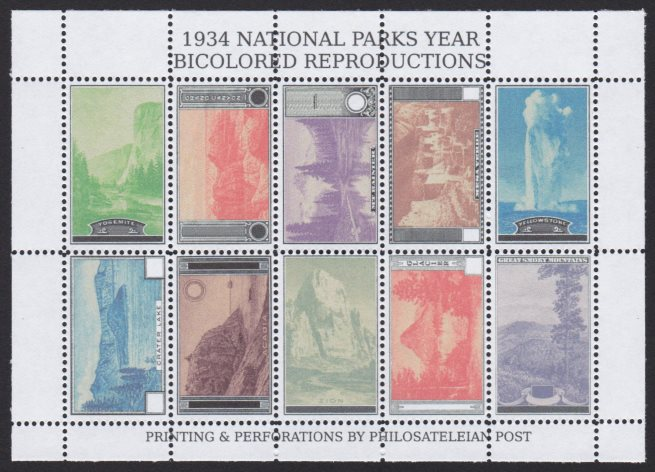 Sheet of 10 bicolored reproductions of the 1934 National Parks Year stamps