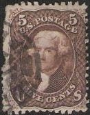 Brown 5-cent U.S. postage stamp picturing Thomas Jefferson