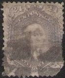 Purple 24-cent U.S. postage stamp picturing George Washington