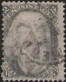 Black 2-cent U.S. postage stamp picturing Andrew Jackson