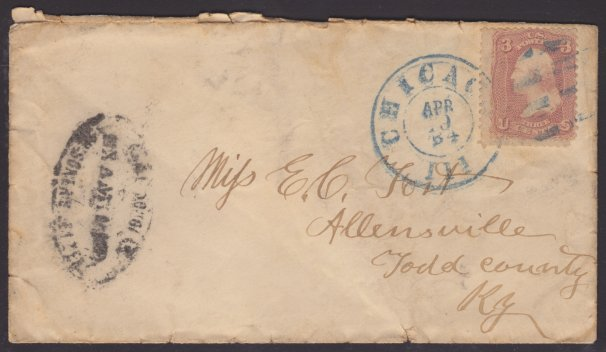 Front of cover bearing 3-cent George Washington stamp and Camp Douglas prisoner's letter marking