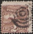 Brown 2-cent U.S. postage stamp picturing a post horse & rider