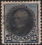 Blue 15-cent U.S. postage stamp picturing Henry Clay