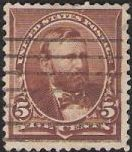 Brown 5-cent U.S. postage stamp picturing Ulysses S. Grant