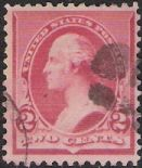 Red 2-cent U.S. postage stamp picturing George Washington