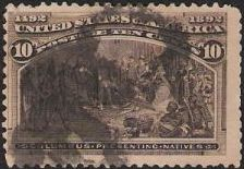 Black brown 10-cent U.S. postage stamp picturing Christopher Columbus presenting natives