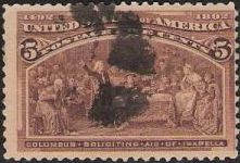 Brown 5-cent U.S. postage stamp picturing Christopher Columbus soliciting aid of Isabella