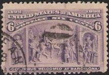 Purple 6-cent U.S. postage stamp picturing Christopher Columbus being welcomed at Barcelona