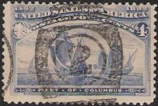 Blue 4-cent U.S. postage stamp picturing fleet of Christopher Columbus