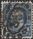 Blue 1-cent U.S. postage stamp picturing Benjamin Franklin
