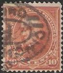 Orange 10-cent U.S. postage stamp picturing Daniel Webster