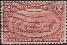 Dark red 2-cent U.S. postage stamp picturing horses and plow