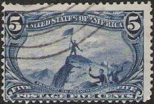Blue 5-cent U.S. postage stamp picturing John Fremont on Rocky Mountains