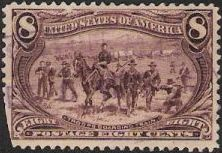 Magenta 8-cent U.S. postage stamp picturing troops guarding train