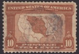Brown 10-cent U.S. postage stamp picturing map of United States with territory included in Louisiana Purchase highlighted