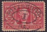 Red 2-cent U.S. postage stamp picturing Thomas Jefferson