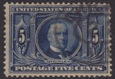 Blue 5-cent U.S. postage stamp picturing William McKinley