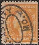 Yellow 10-cent U.S. postage stamp picturing George Washington