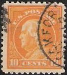 Yellow 10-cent U.S. postage stamp picturing Benjamin Franklin