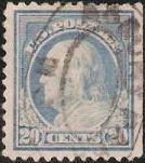 Blue 20-cent U.S. postage stamp picturing Benjamin Franklin