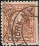 Brown 4-cent U.S. postage stamp picturing George Washington
