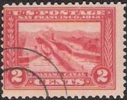 Red 2-cent U.S. postage stamp picturing Panama Canal