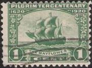 Green 1-cent U.S. postage stamp picturing the Mayflower