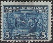 Blue 5-cent U.S. postage stamp picturing the Signing of the Compact