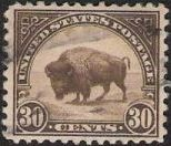 Brown 30-cent U.S. postage stamp picturing American buffalo
