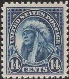 Blue 14-cent U.S. postage stamp picturing American Indian