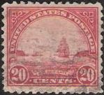 Red 20-cent U.S. postage stamp picturing Golden Gate