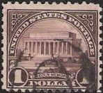 Dark purple $1 U.S. postage stamp picturing Lincoln Memorial