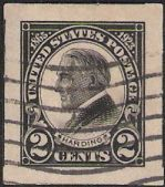 Black 2-cent U.S. postage stamp picturing Warren G. Harding