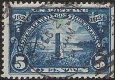 Blue 5-cent U.S. postage stamp picturing Jan Ribault Monument