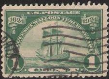 Green 1-cent U.S. postage stamp picturing ship 'Nieu Nederland'