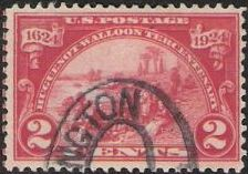 Red 2-cent U.S. postage stamp picturing Walloons landing at Fort Orange
