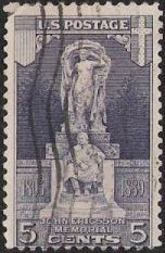 Blue 5-cent U.S. postage stamp picturing John Ericsson Memorial