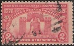 Red 2-cent U.S. postage stamp picturing Liberty Bell